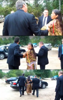 Photo: Arrest of Louise Wawatie, from the Traditional Algonquin Nation of the One Nation Facebook Group