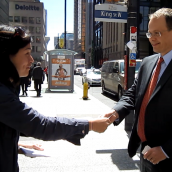 Direct outreach to investors took place on the corner of Bay and King in downtown Toronto with informative fliers about how they could get in on a $6 billion class action against Barrick